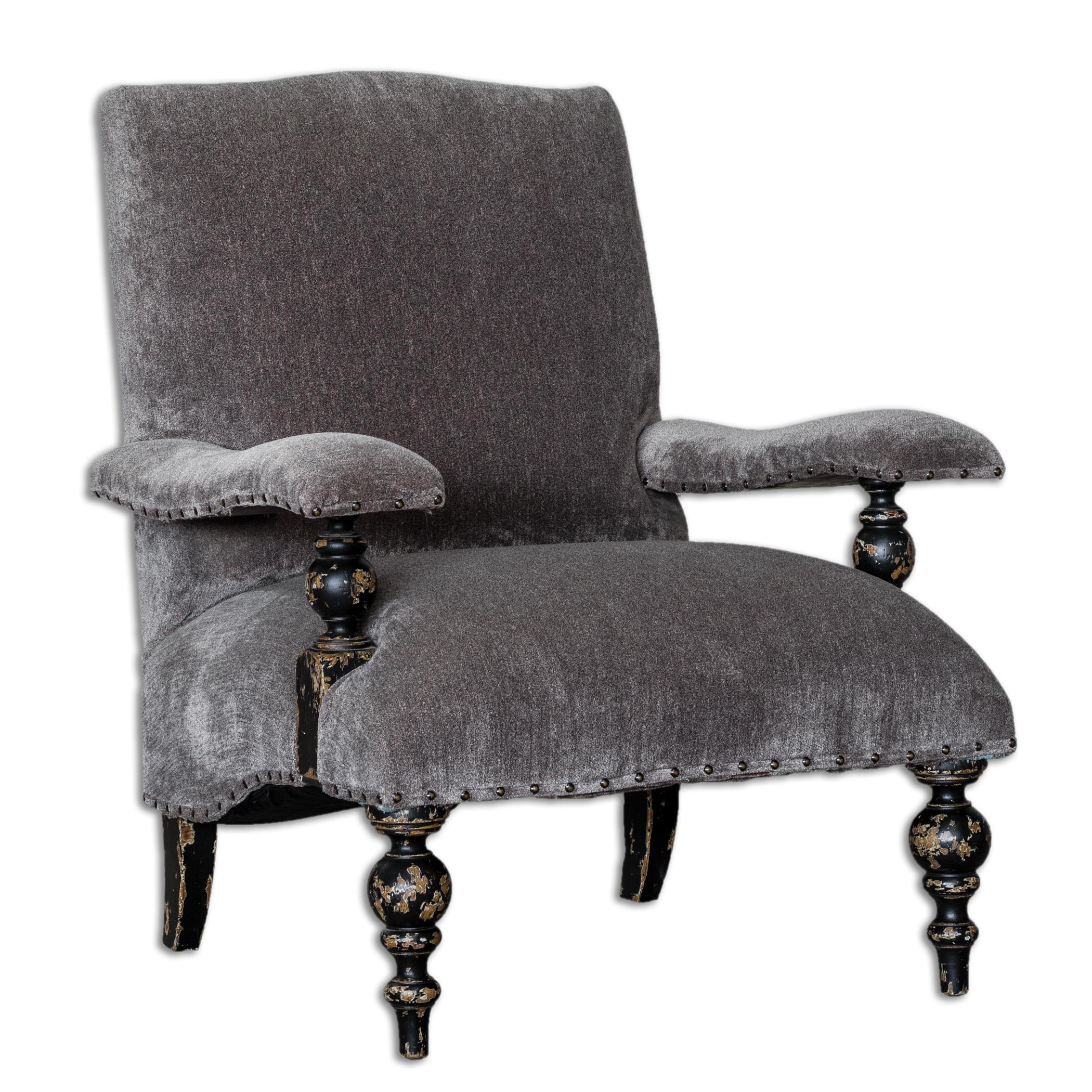 Uttermost Accent Furniture Eavan Gray Chenille Armchair - Item Number: 23640