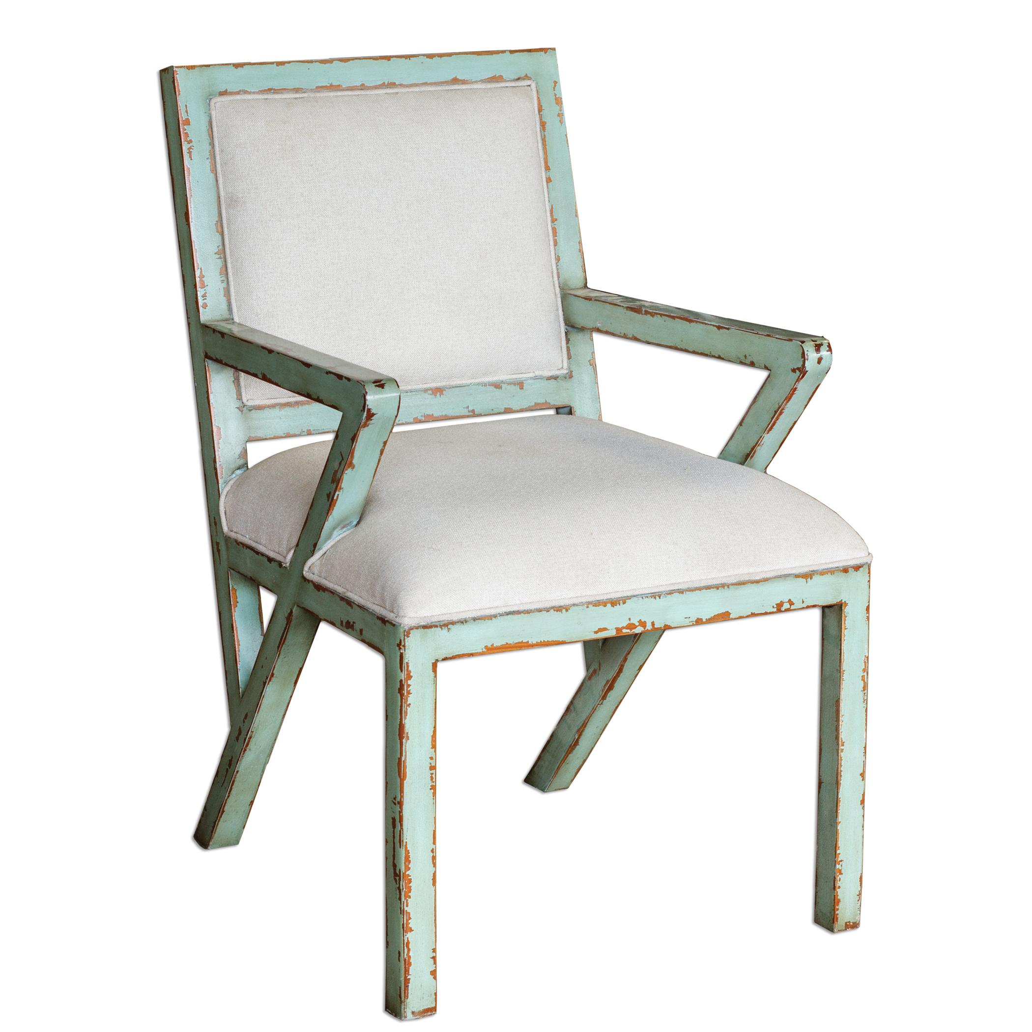 Uttermost Accent Furniture Zenia Seaglass Green Armchair - Item Number: 23649