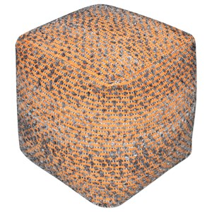 Valda Orange Wool Pouf