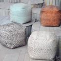 Uttermost Accent Furniture Valda Orange Wool Pouf