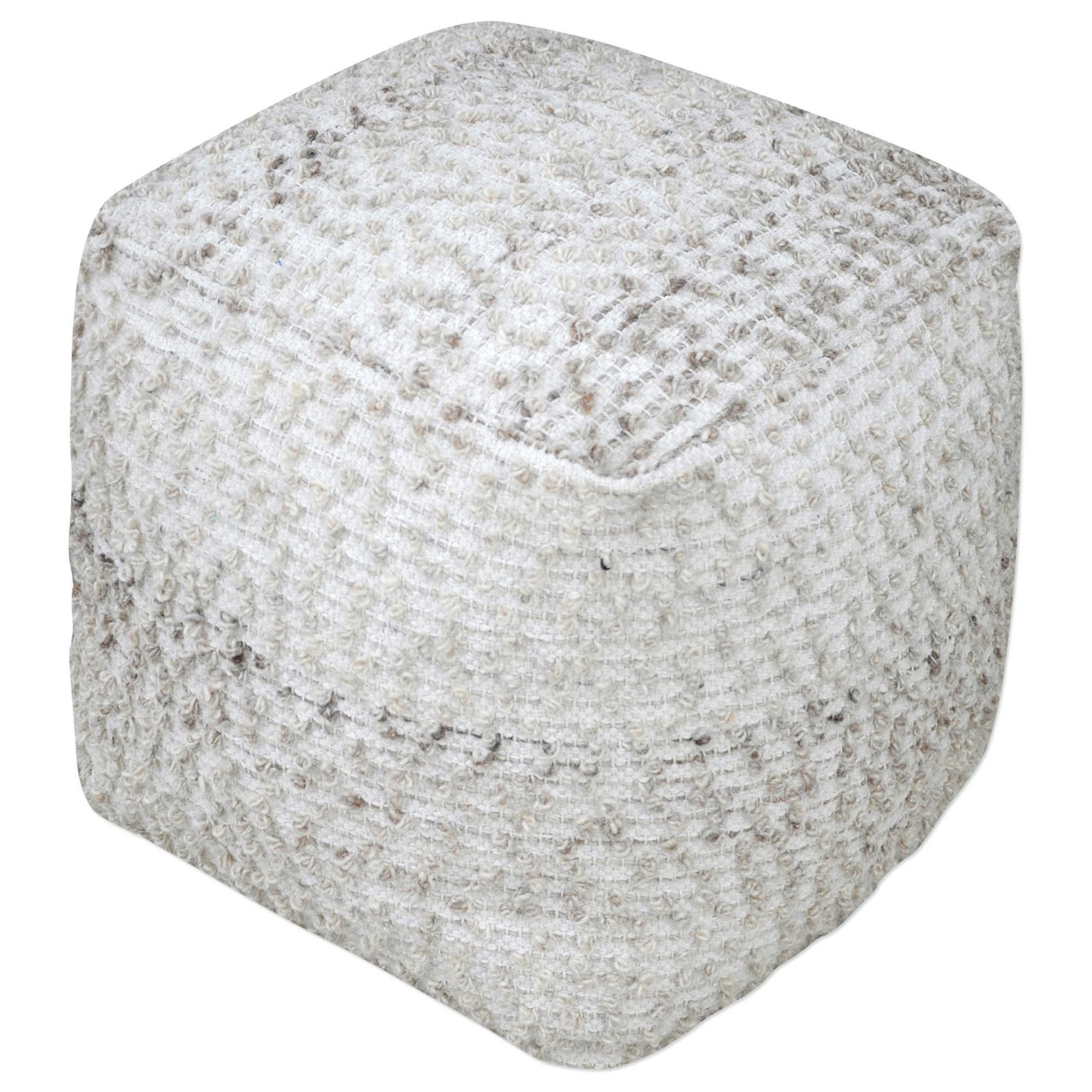 Valda Gray Wool Pouf