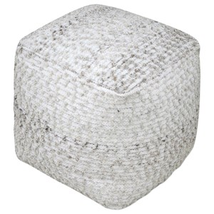 Uttermost Accent Furniture Valda Gray Wool Pouf