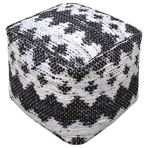 Uttermost Accent Furniture Rewa Ivory/Black Pouf