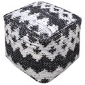 Uttermost Accent Furniture Rewa Ivory/Black Pouf - Item Number: 23960