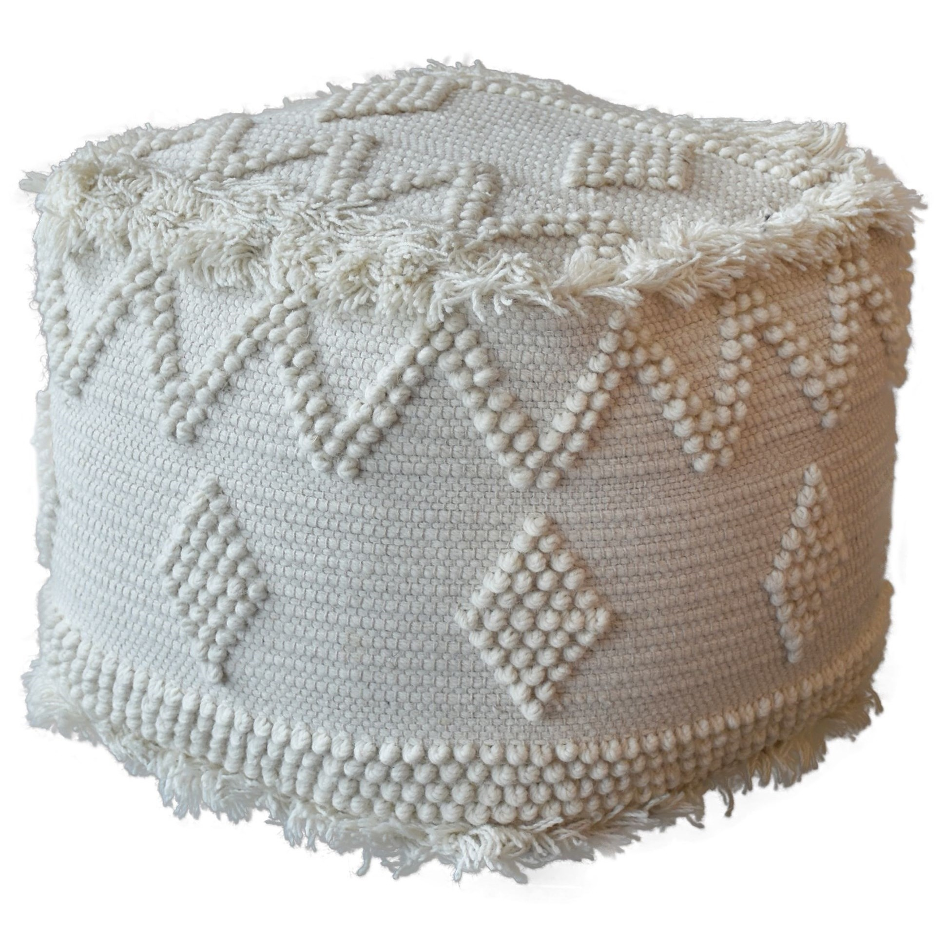 Accent Furniture - Ottomans Uriah Ivory Pouf by Uttermost at Suburban Furniture