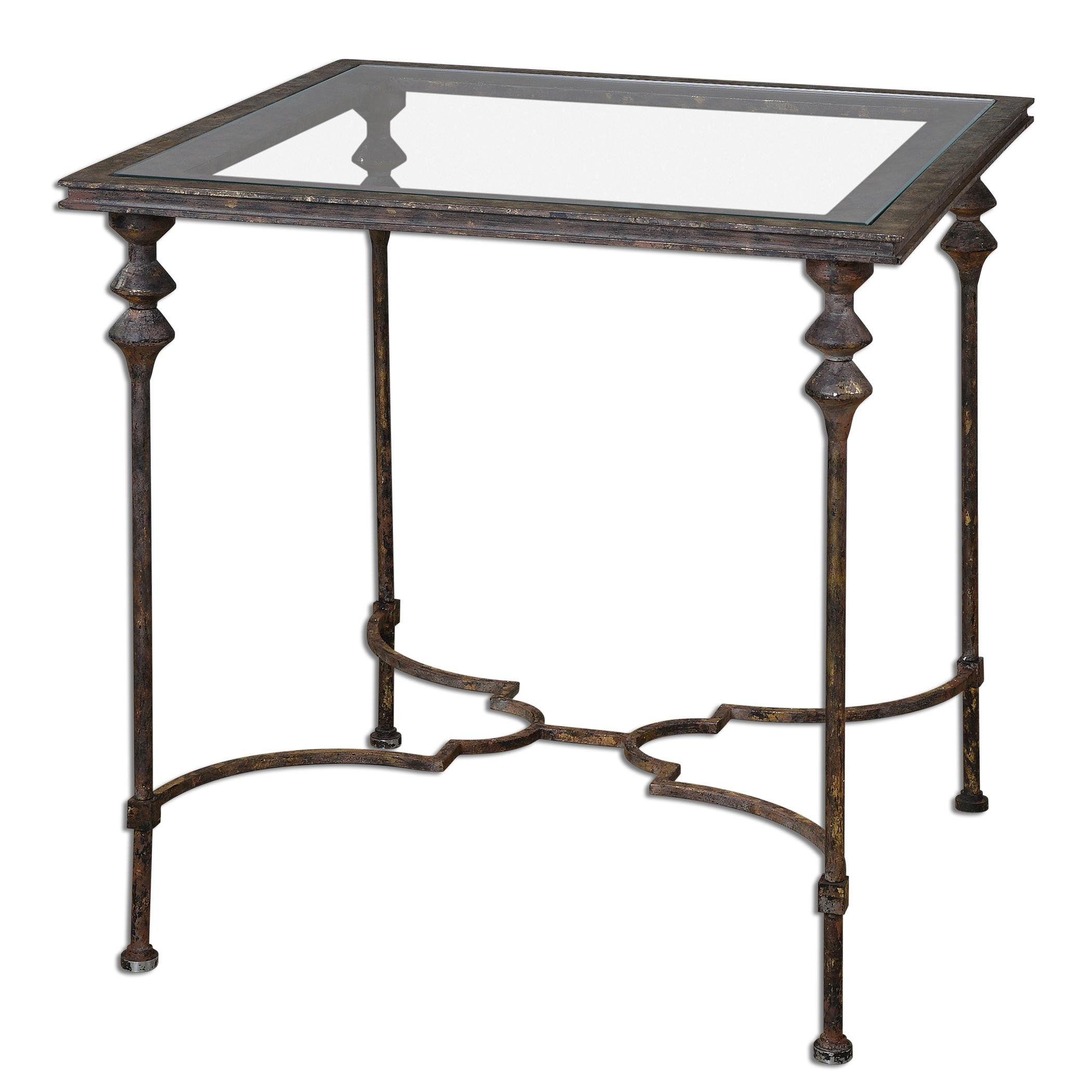 Uttermost Accent Furniture Quillon Glass End Table - Item Number: 24365