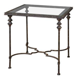 Uttermost Accent Furniture Quillon Glass End Table