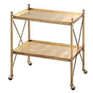 Uttermost Accent Furniture Amaranto Gold Serving Cart