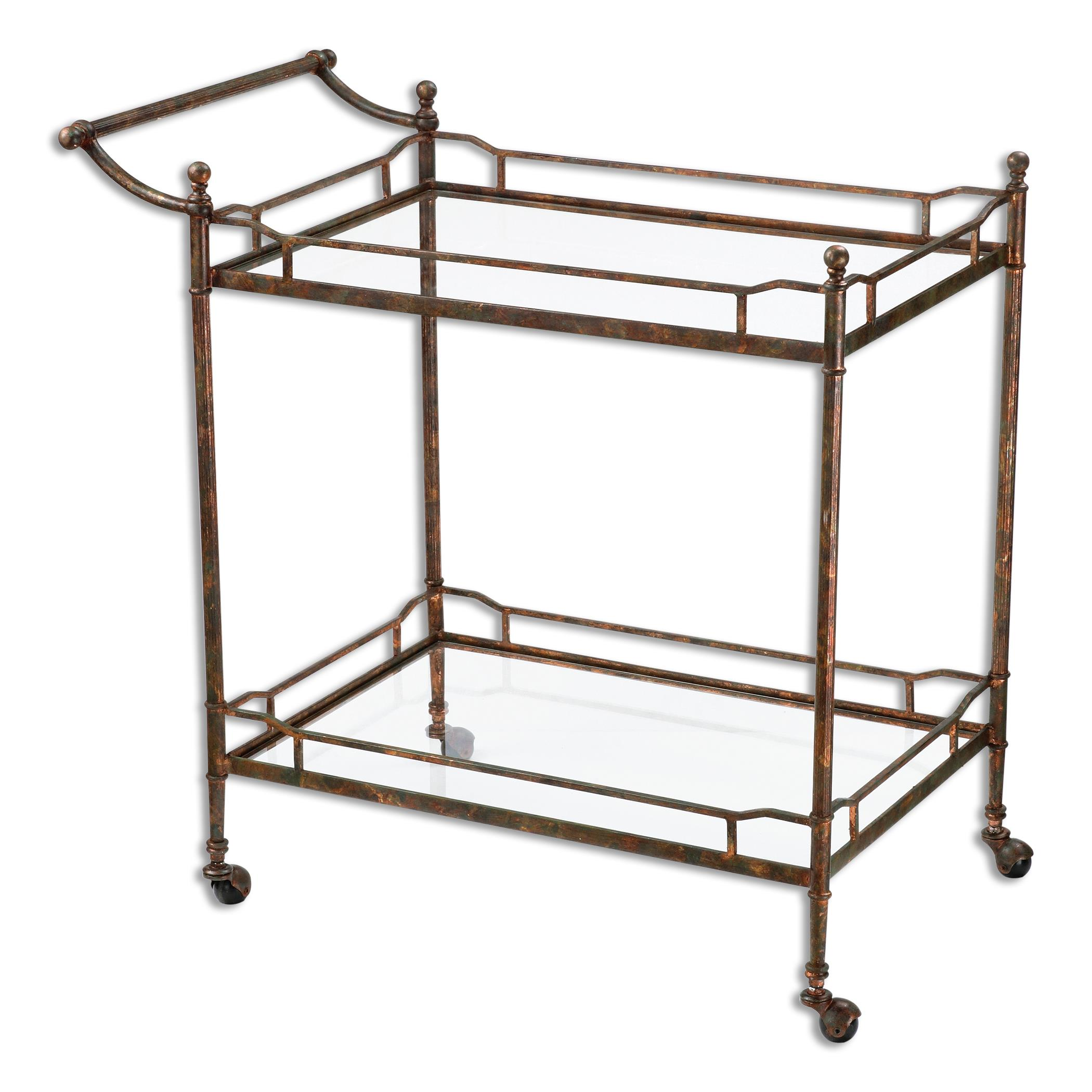 Uttermost Accent Furniture Stasia Glass Tea Cart - Item Number: 24465