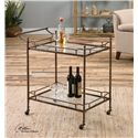 Uttermost Accent Furniture Stasia Glass Tea Cart