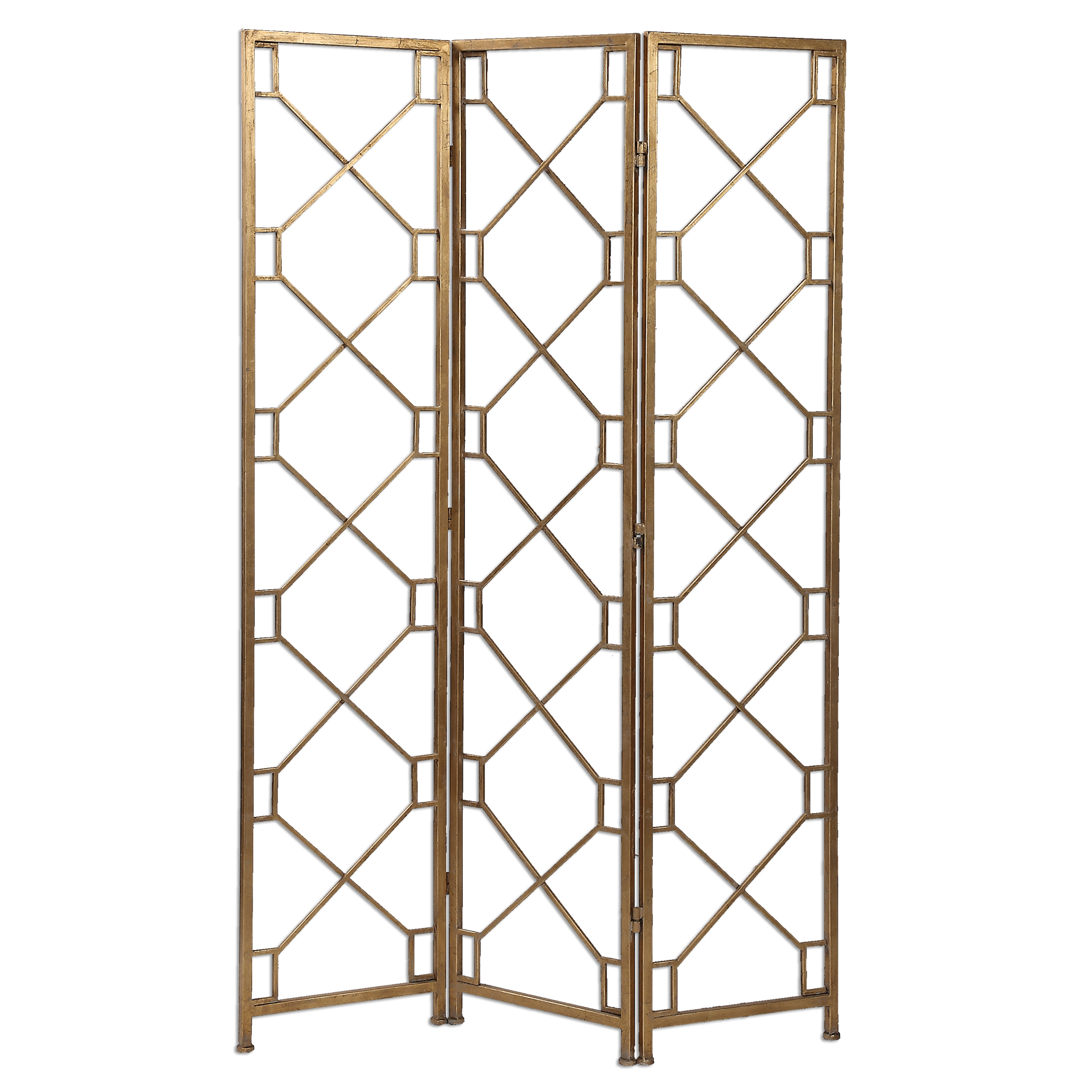 Uttermost Accent Furniture Lakaya Gold 3 Panel Screen - Item Number: 24538