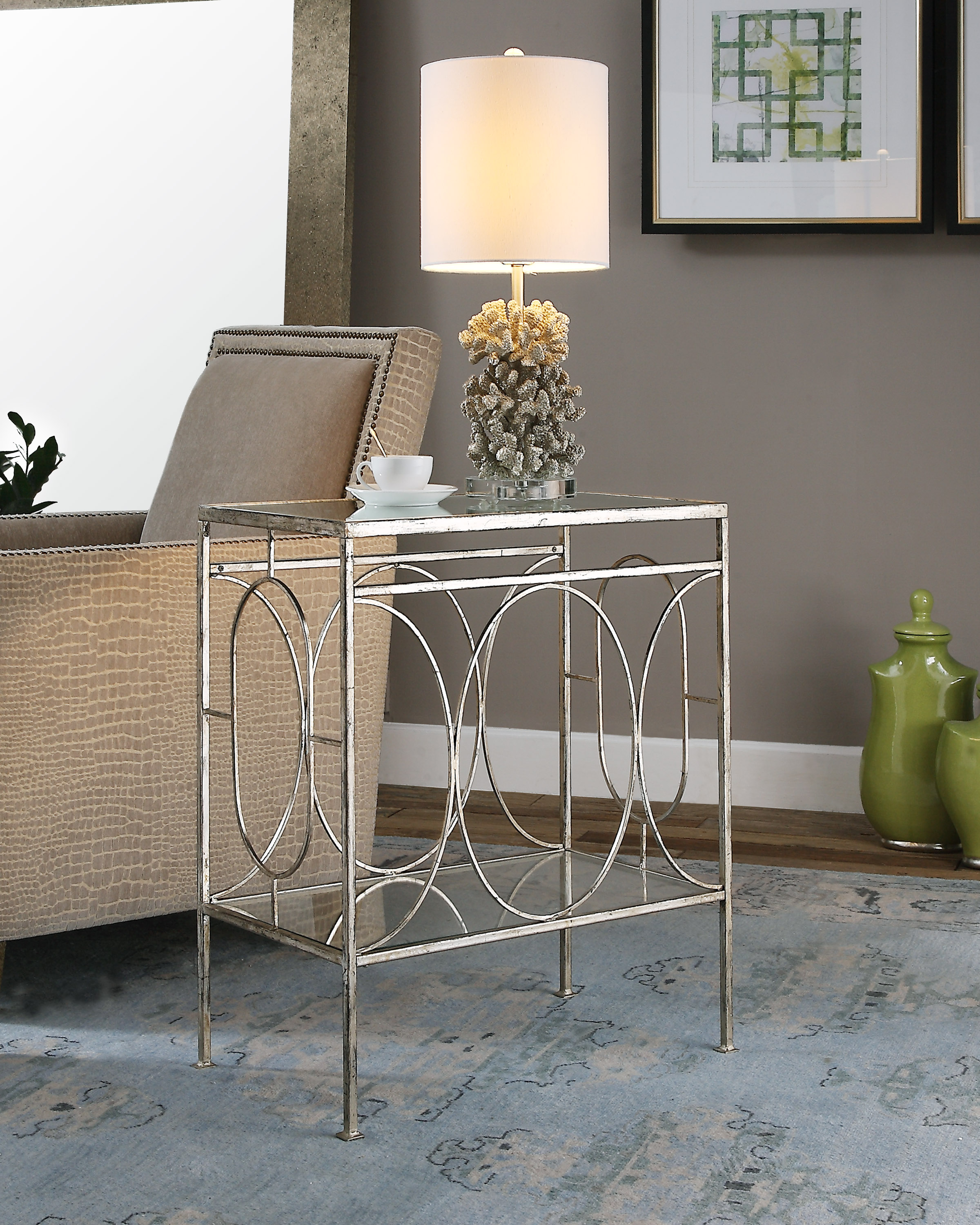Uttermost Accent Furniture Luano Silver End Table Darvin