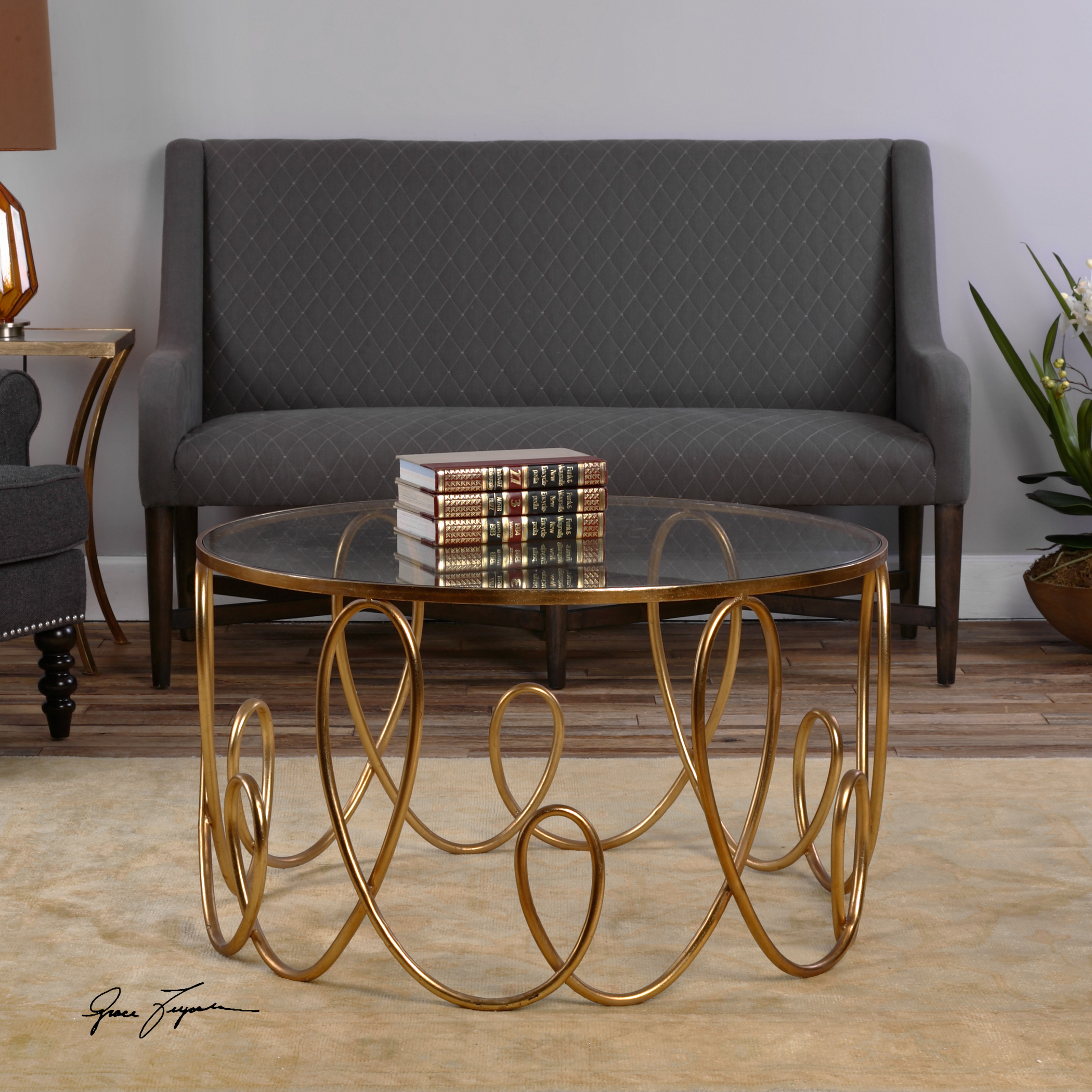Lpd Furniture Accent White Coffee Table: Uttermost Accent Furniture 24620 Brielle Gold Coffee Table
