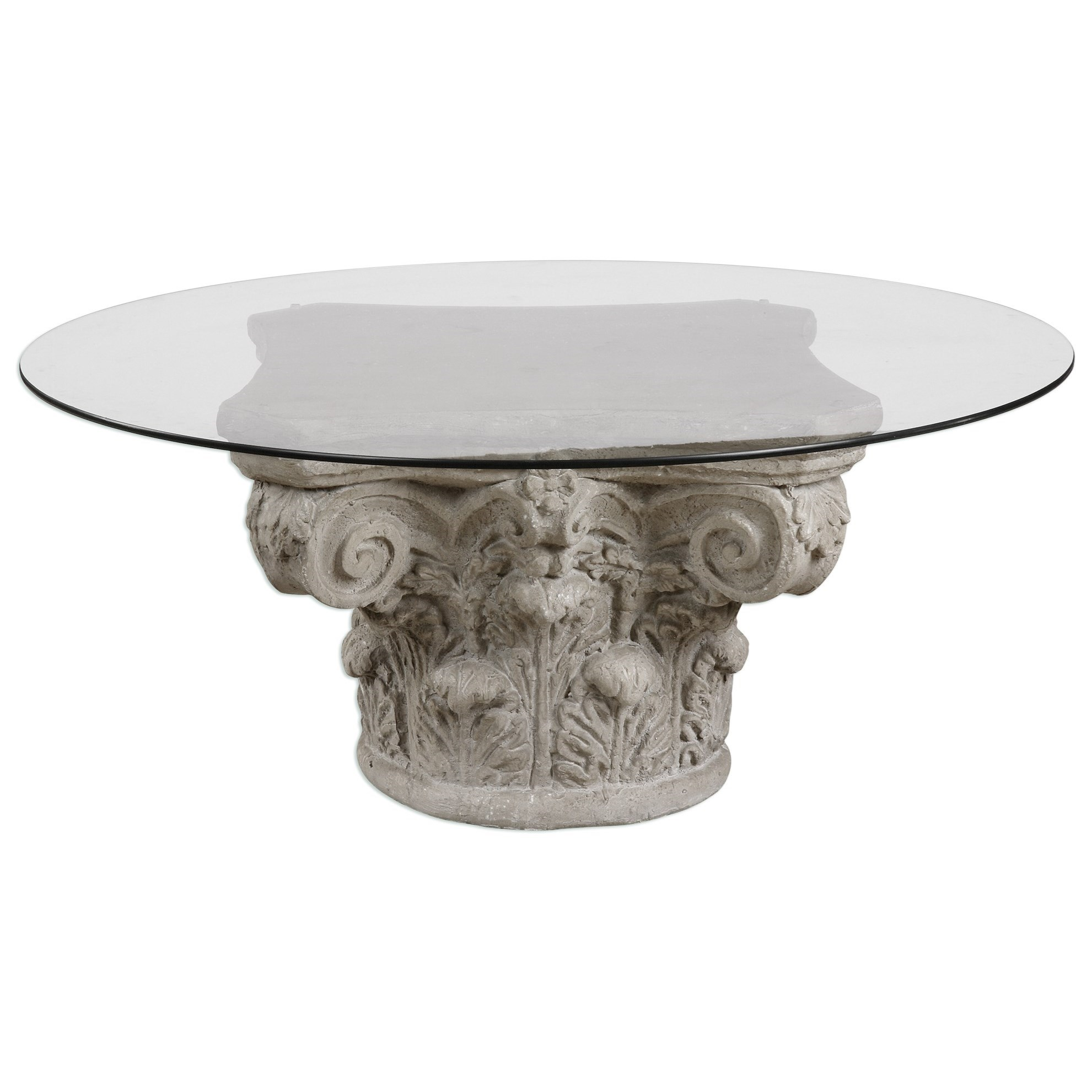 Uttermost Accent Furniture  Corinthian Aged Stone Accent Table - Item Number: 24699