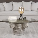 Uttermost Accent Furniture  Corinthian Aged Stone Accent Table
