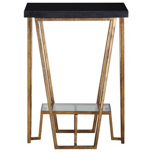 Uttermost Accent Furniture Agnes Black Granite Accent Table