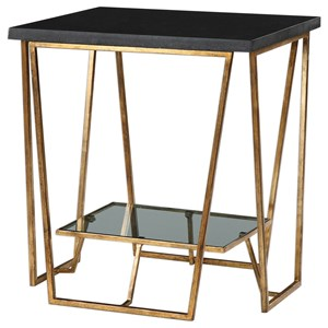 Uttermost Accent Furniture Agnes Black Granite End Table