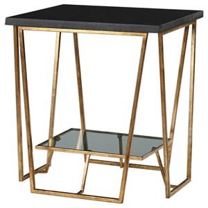 Uttermost Accent Furniture Agnes Black Granite End Table