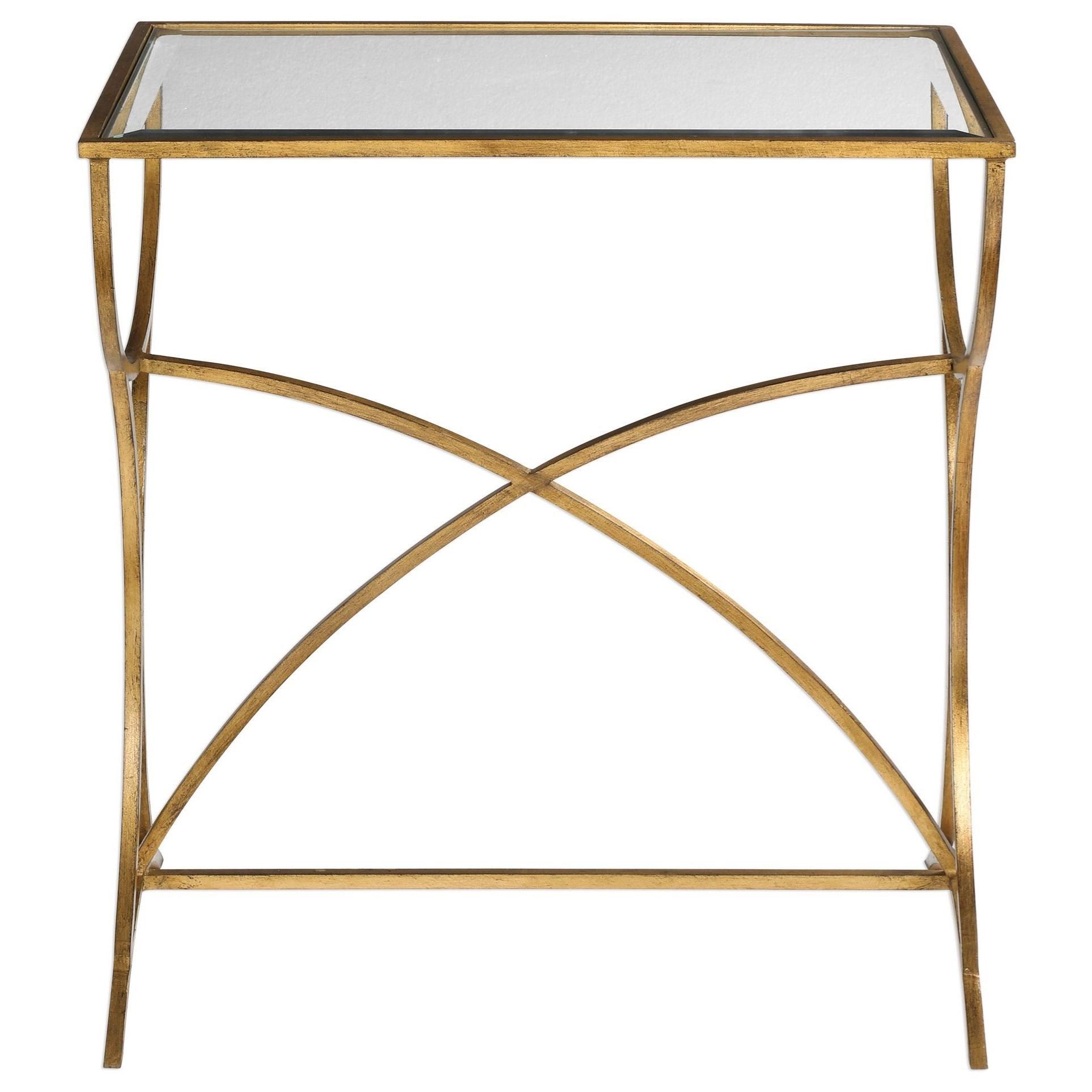 Sarette Antiqued Gold Accent Table