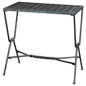 Gauther Aged Steel Accent Table