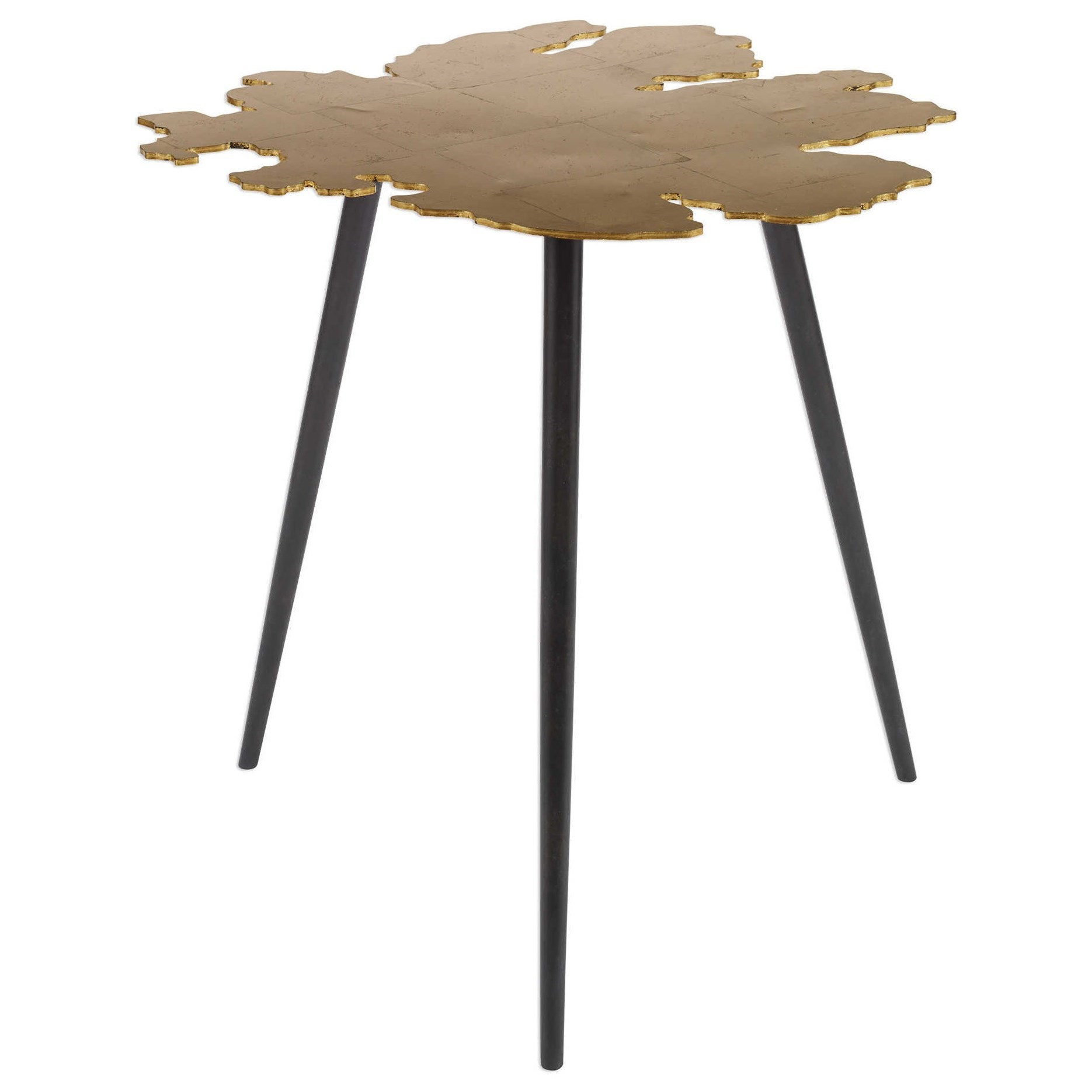 Accent Furniture - Occasional Tables Linden Gold Leaf Accent Table by Uttermost at Dunk & Bright Furniture
