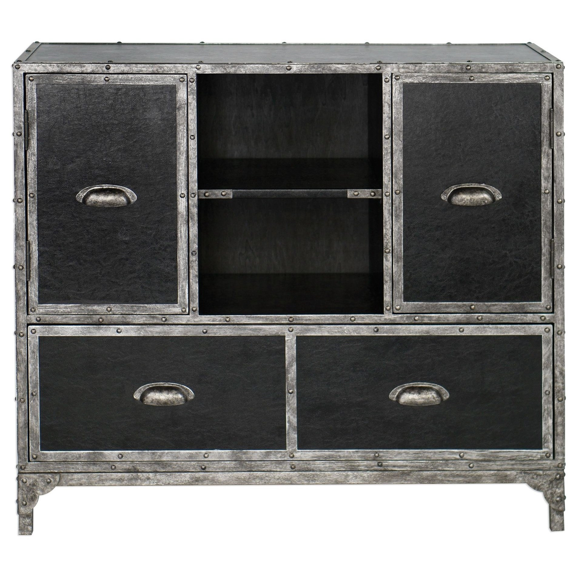 Shawn Black Leather Accent Chest