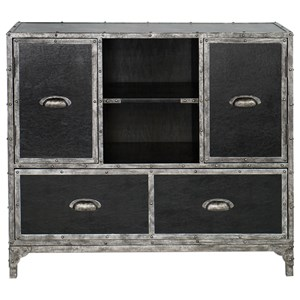 Uttermost Accent Furniture Shawn Black Leather Accent Chest