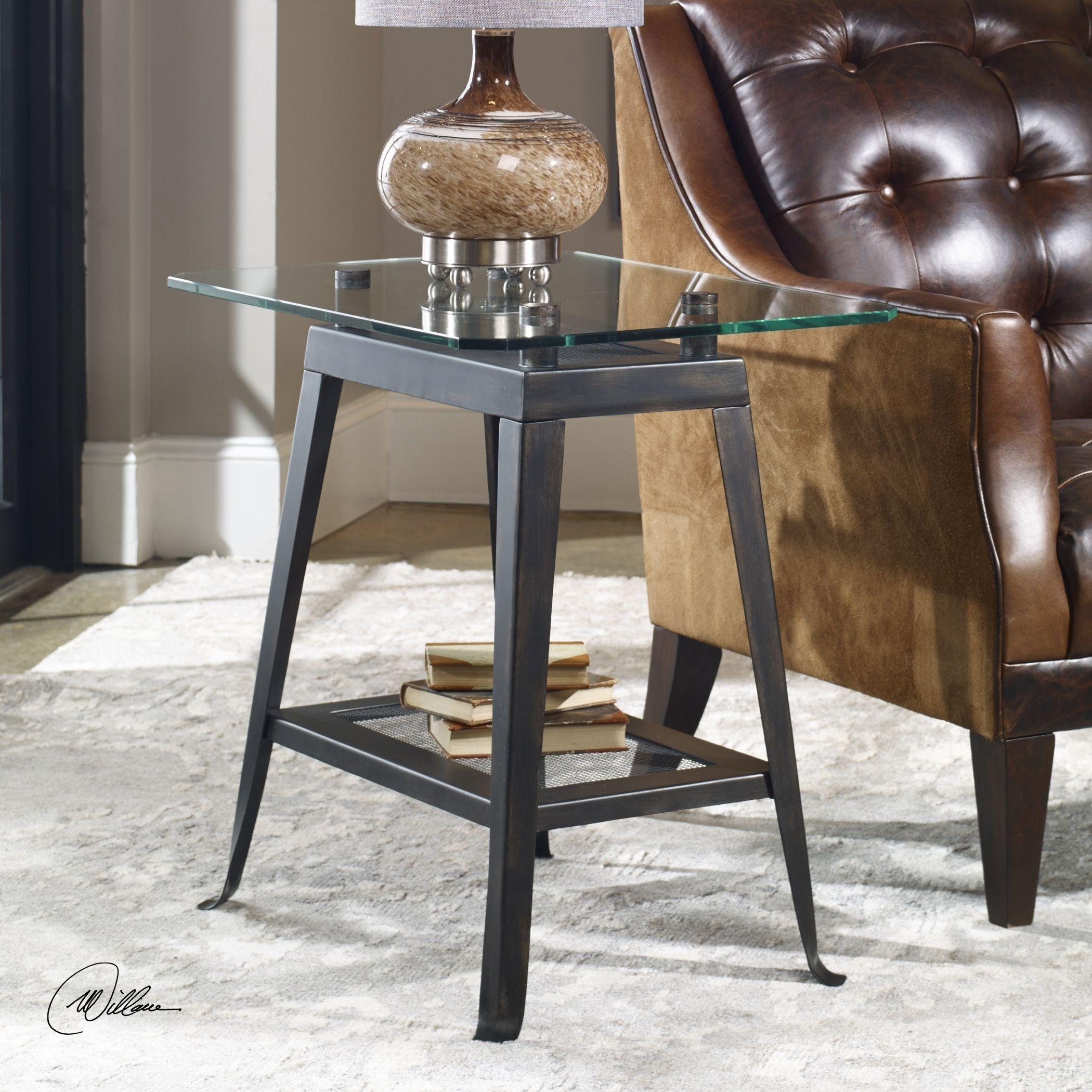 Brett Aged Bronze Lamp Table