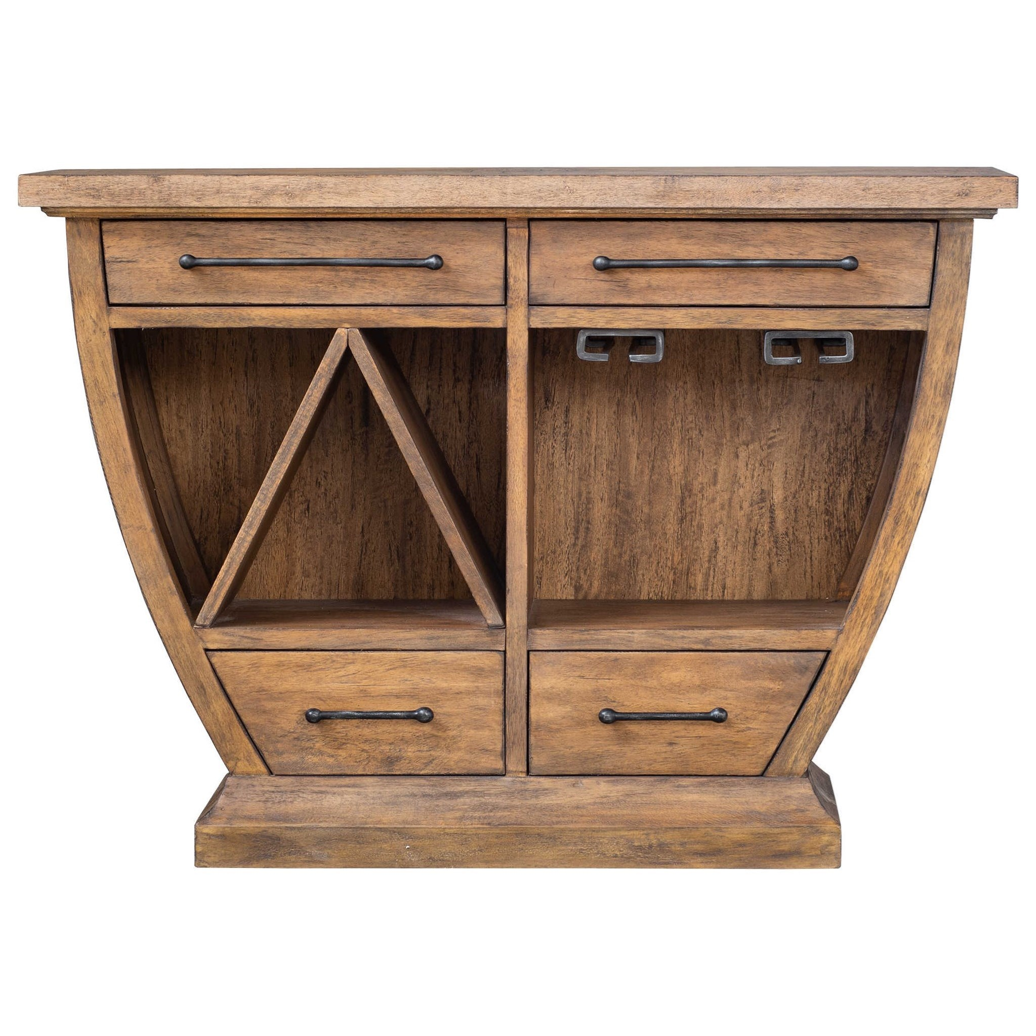 Aleph Rustic Wood Bar Cabinet