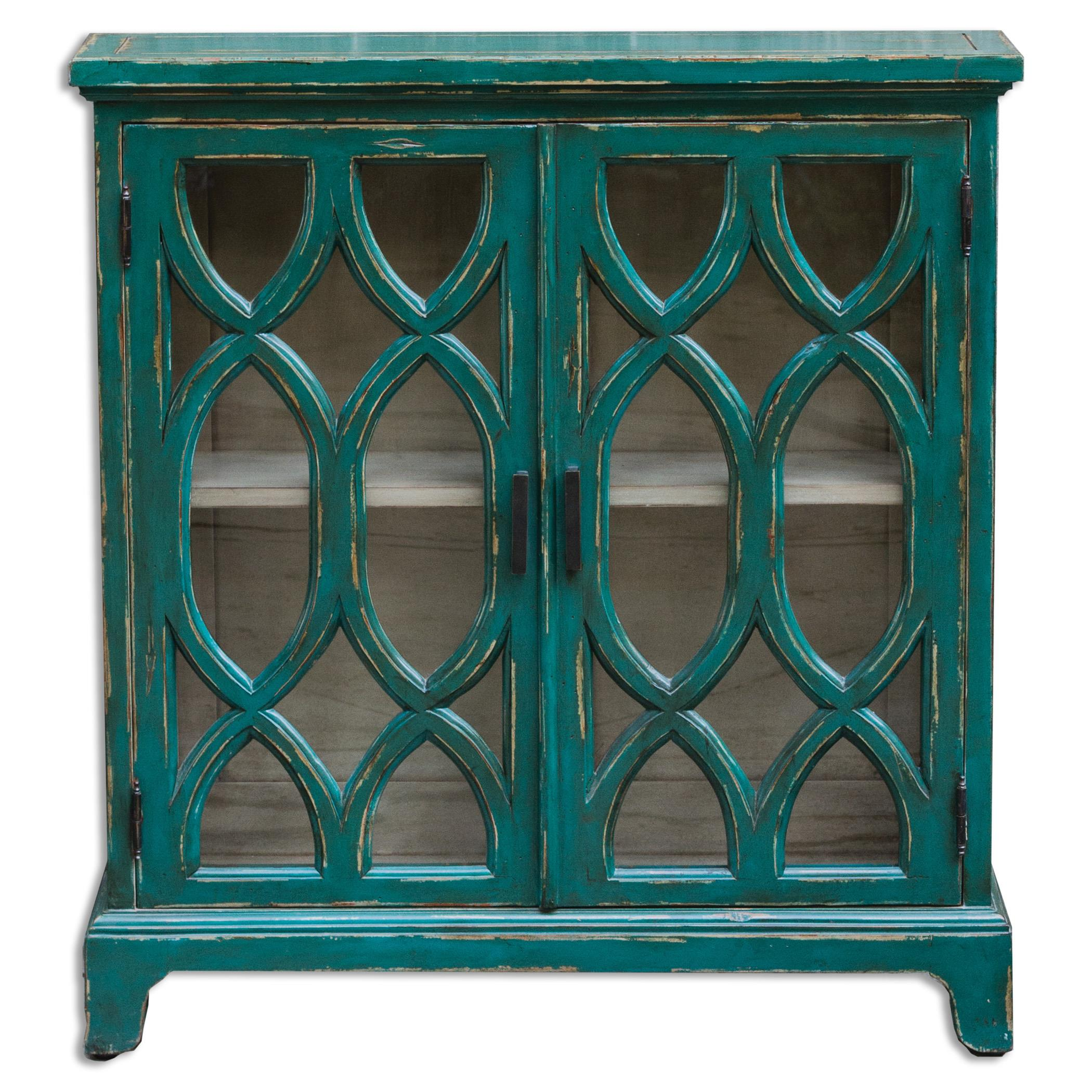 Uttermost Accent Furniture Theona Azure Blue Console Cabinet - Item Number: 25648