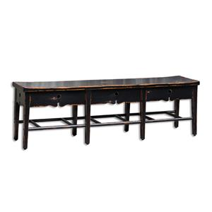 Uttermost Accent Furniture Dalit Mahogany 3-Seat Bench