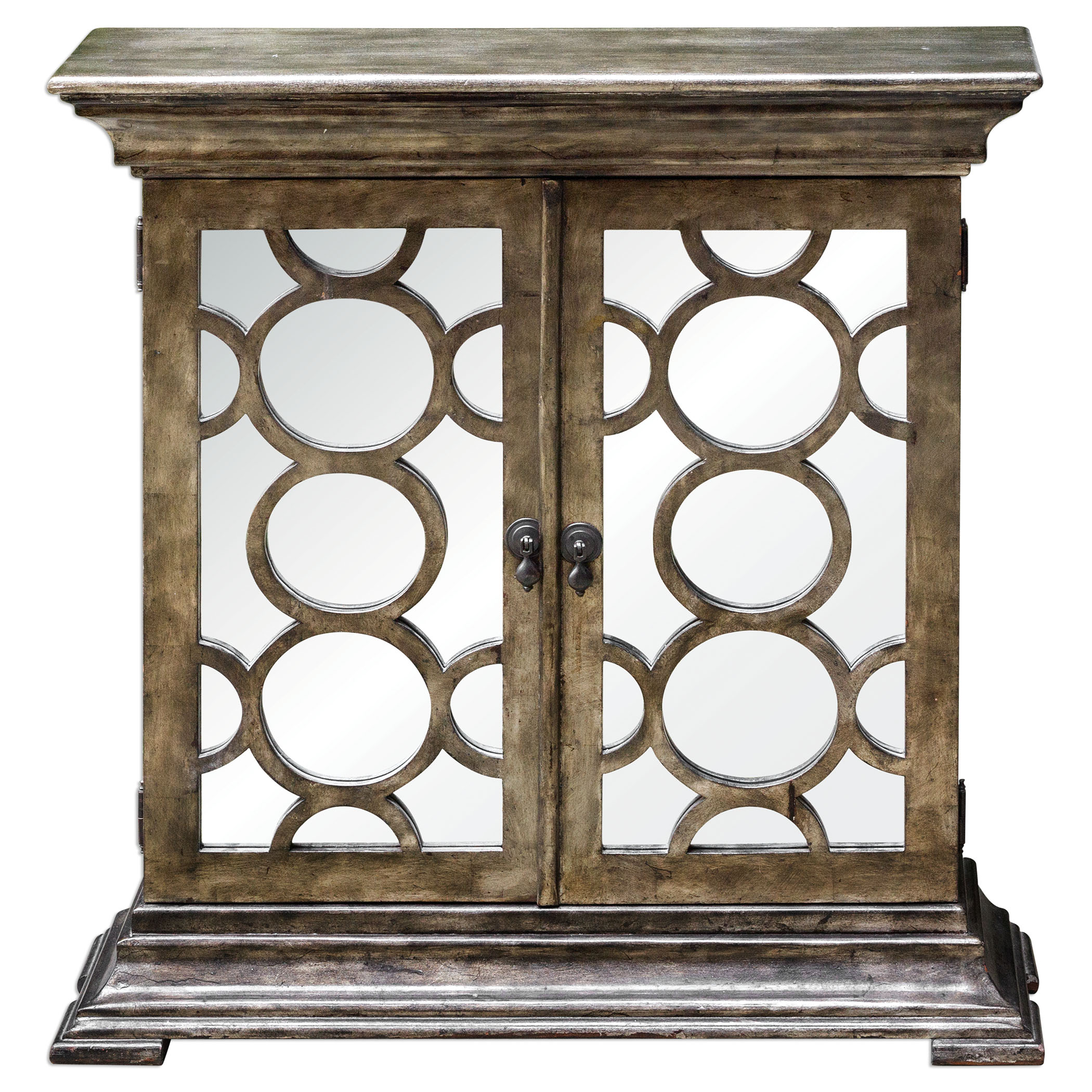Uttermost Accent Furniture Glasson Mirrored Console Cabinet - Item Number: 25684