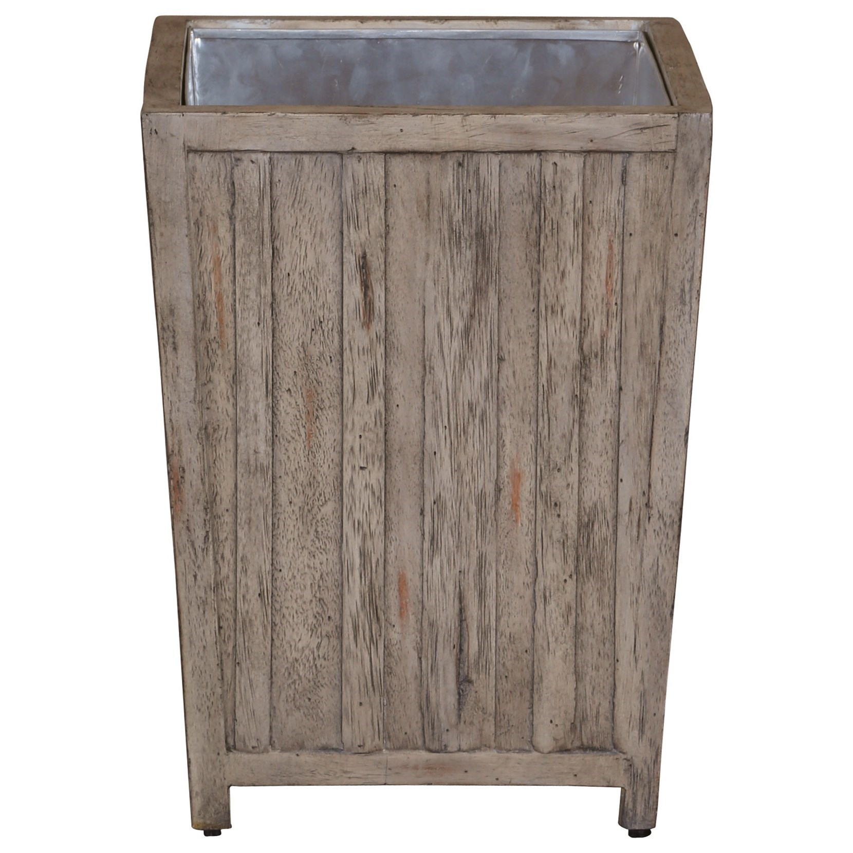 Uttermost Accent Furniture Jira Aged White Waste Bin - Item Number: 25725