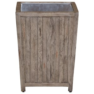 Uttermost Accent Furniture Jira Aged White Waste Bin