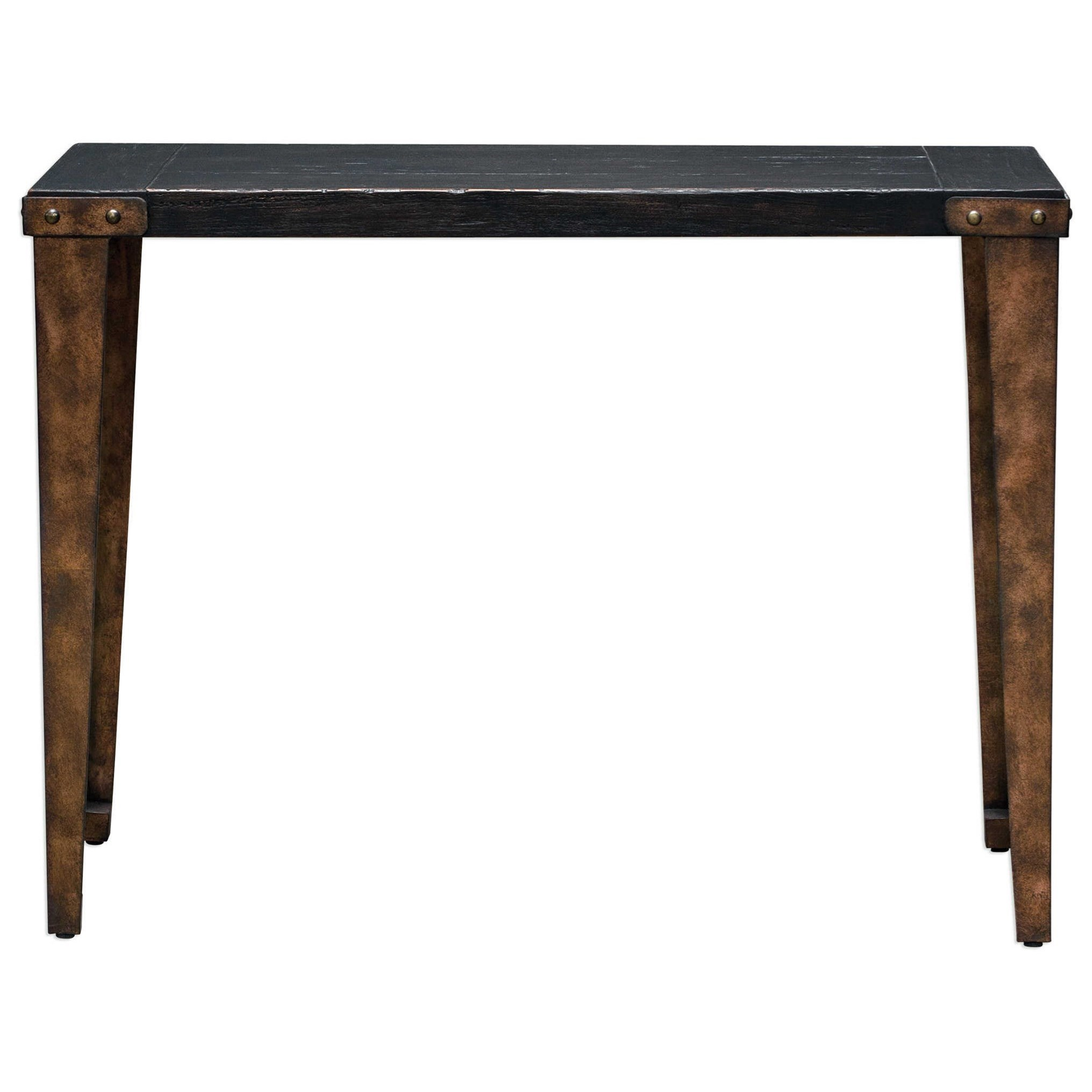 Uttermost Accent Furniture Atilo Worn Black Console Table - Item Number: 25760