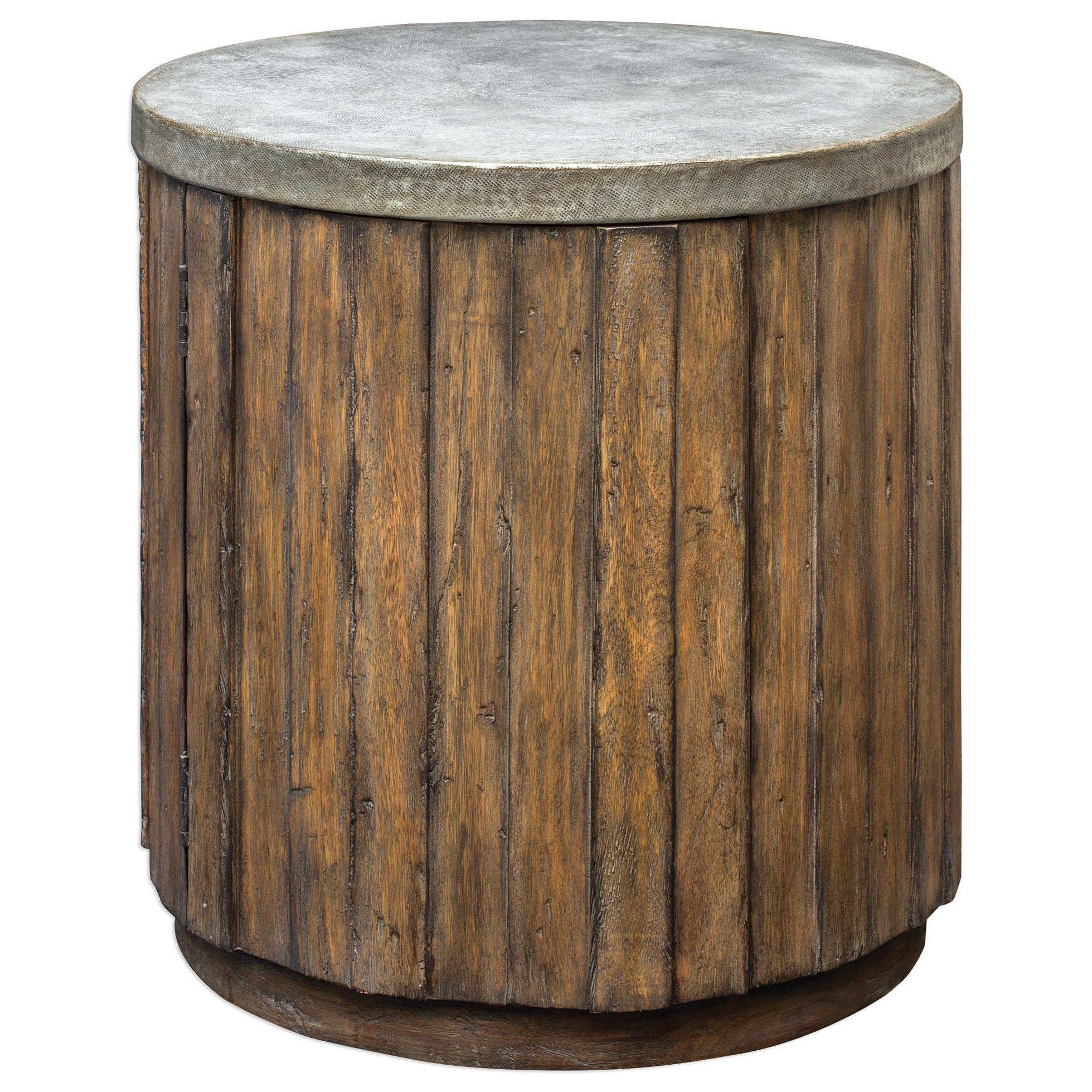 Accent Furniture - Occasional Tables Maxfield Wooden Drum Accent Table by Uttermost at Goffena Furniture & Mattress Center