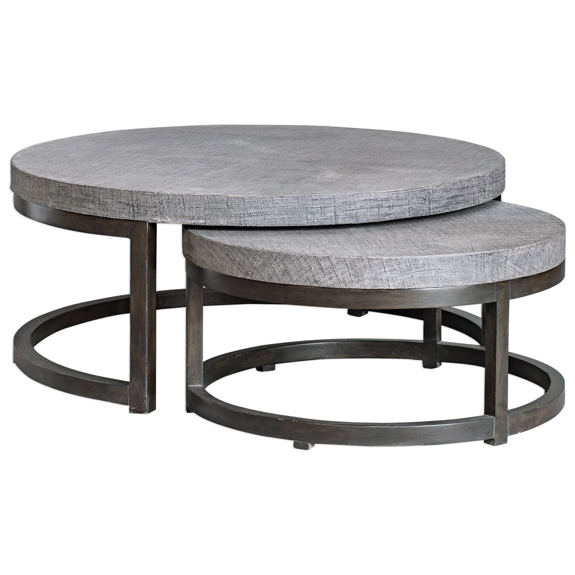 Aiyara Gray Nesting Tables, S/2