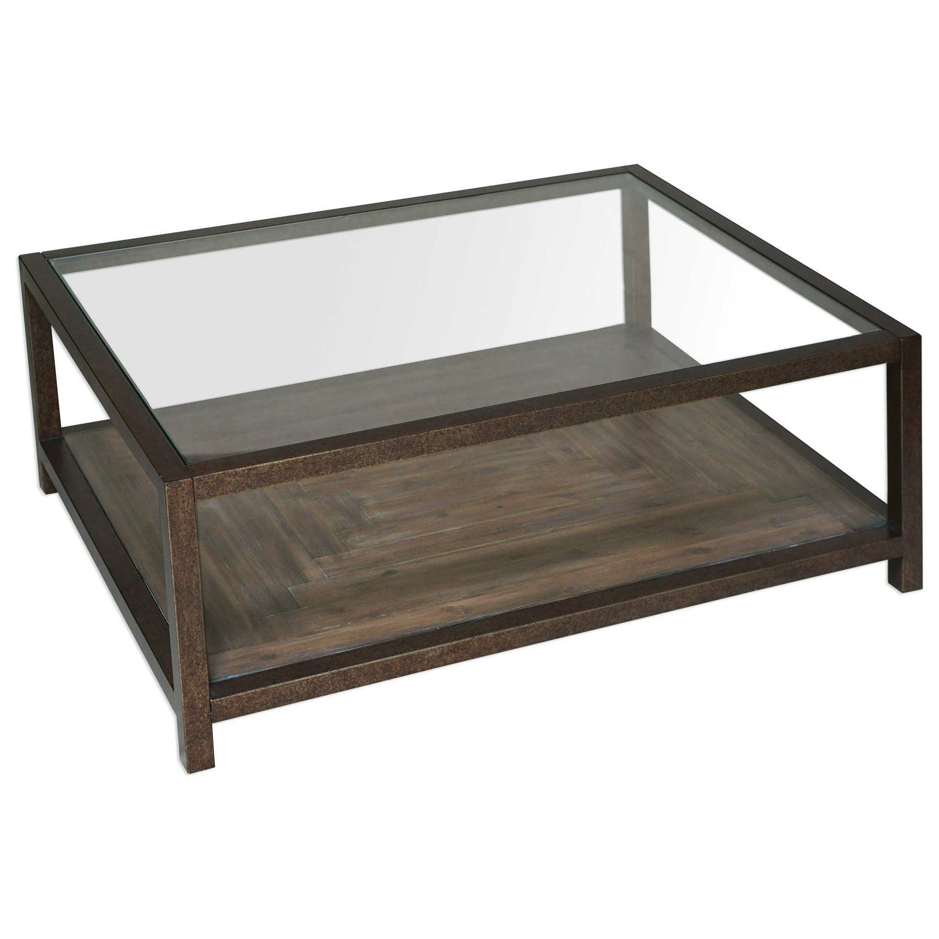 Uttermost Accent Furniture Carter Bronze Glass Coffee Table - Uttermost driftwood cocktail table
