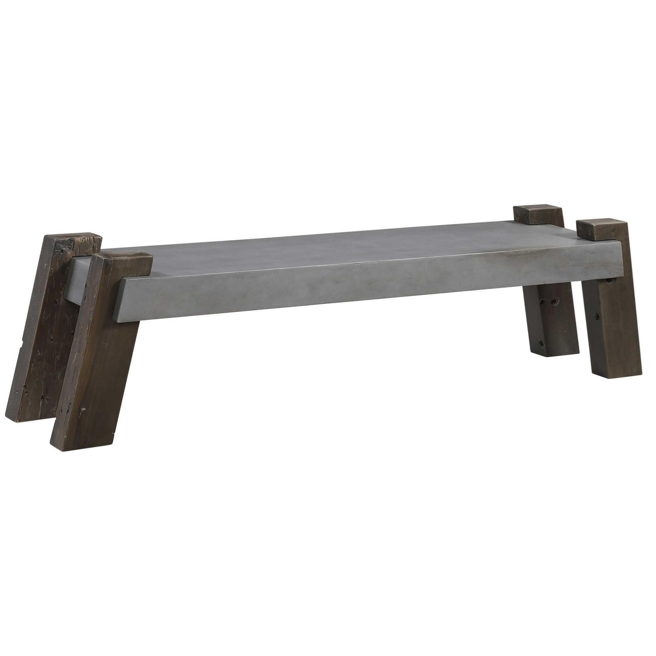 Accent Furniture - Benches Lavin Industrial Concrete Bench by Uttermost at Dunk & Bright Furniture