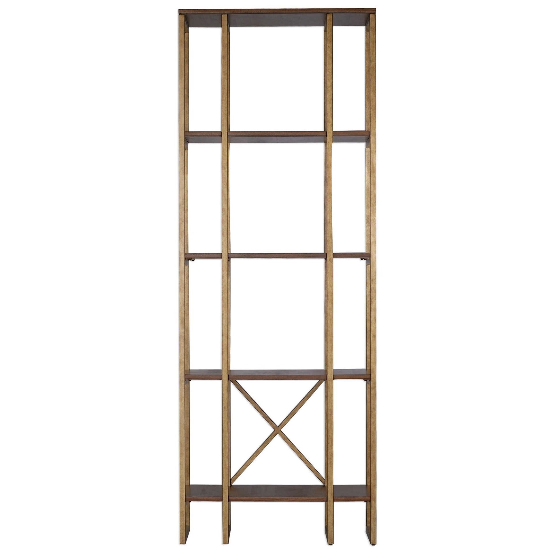 Accent Furniture - Bookcases Karishma Antique Gold Etagere by Uttermost at Dunk & Bright Furniture