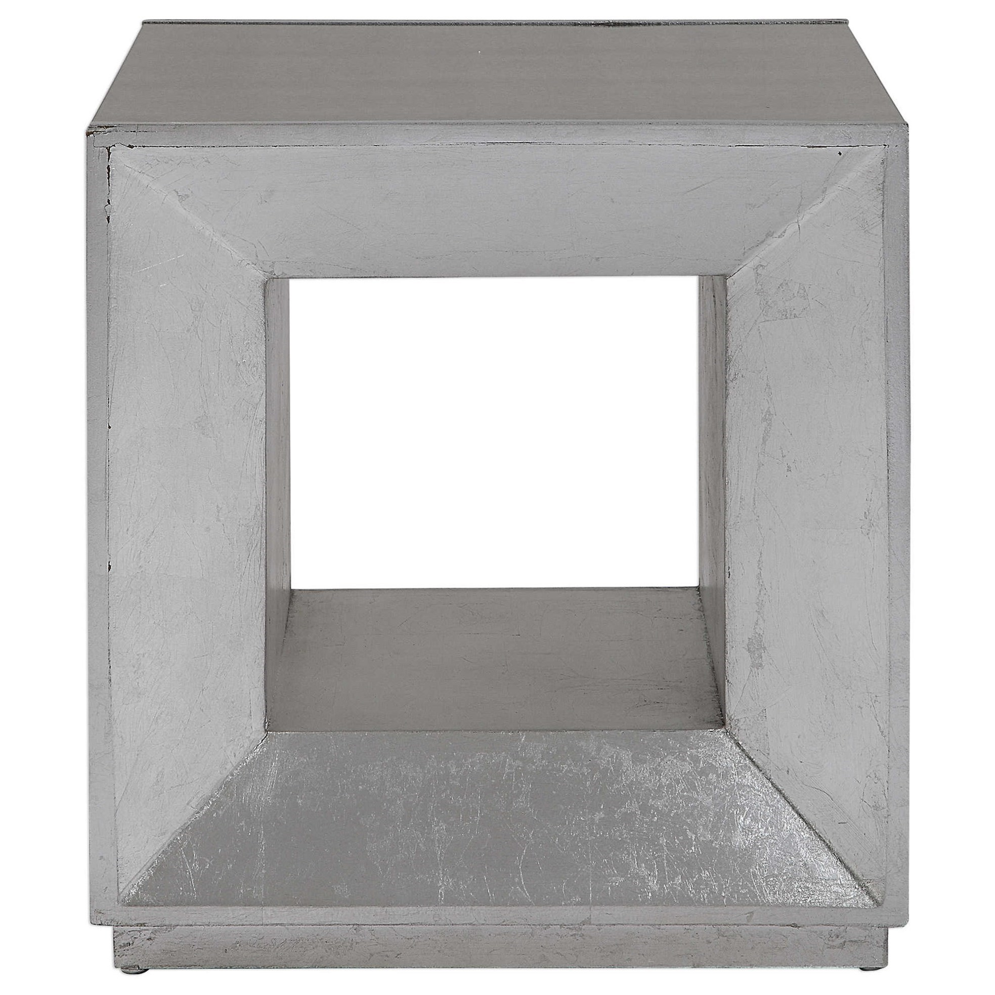 Accent Furniture - Occasional Tables Flair Silver Cube Table by Uttermost at Furniture and ApplianceMart
