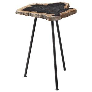 Mircea Petrified Wood Accent Table