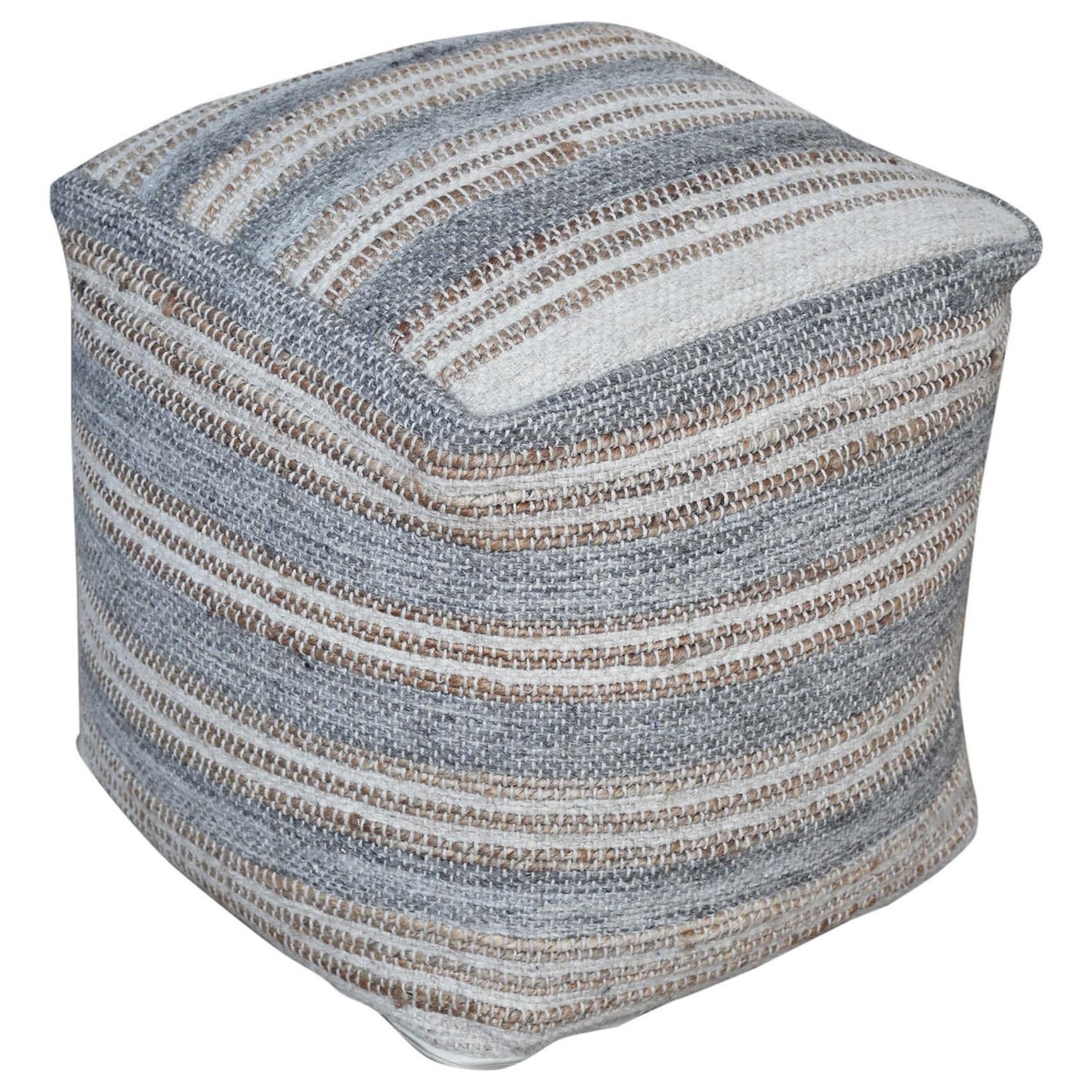 Accent Furniture - Ottomans Mesick Handwoven Gray Pouf by Uttermost at Factory Direct Furniture