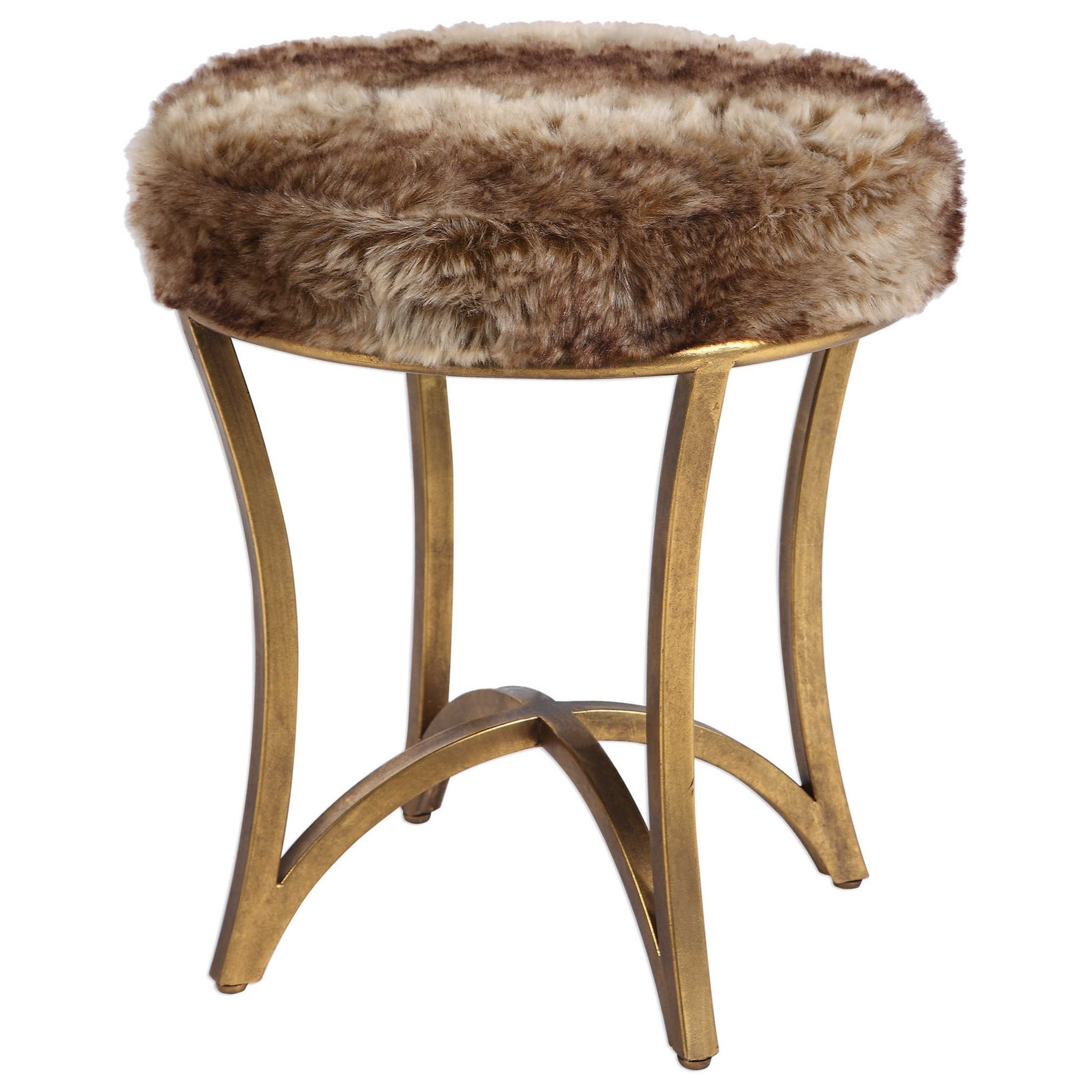 Accent Furniture - Stools Bernett Fur Accent Stool by Uttermost at Goffena Furniture & Mattress Center