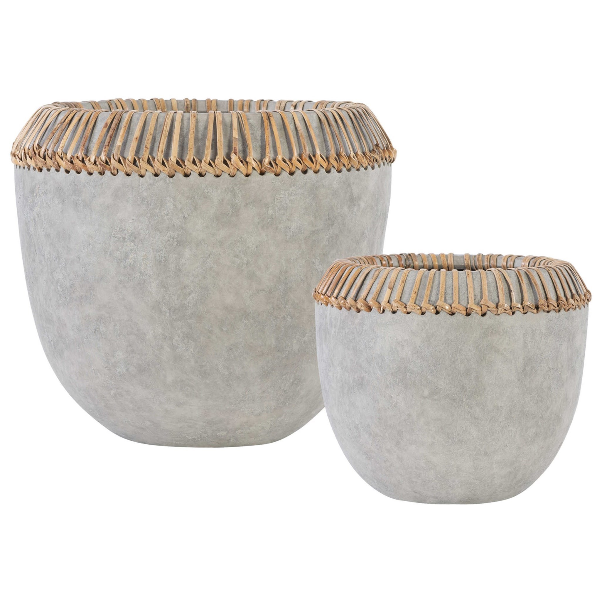 Accessories Aponi Concrete Ray Bowls, S/2 by Uttermost at Del Sol Furniture