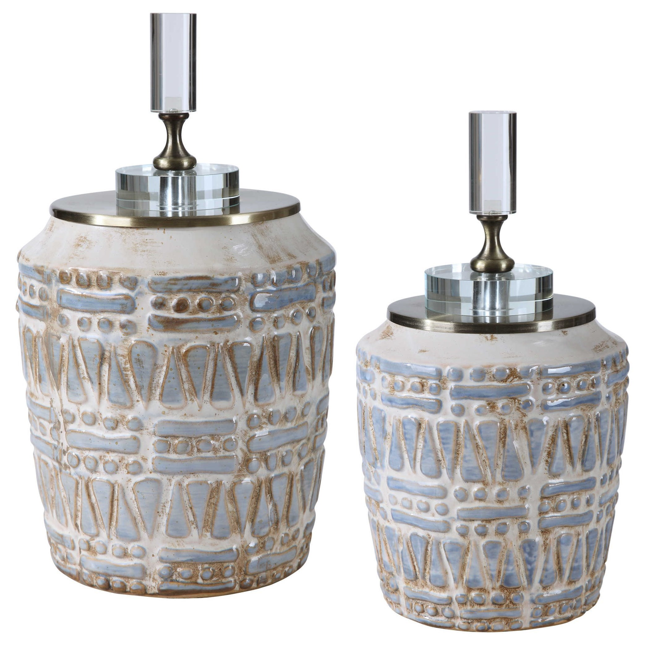Accessories Lenape Ceramic Bottles, S/2 by Uttermost at Del Sol Furniture