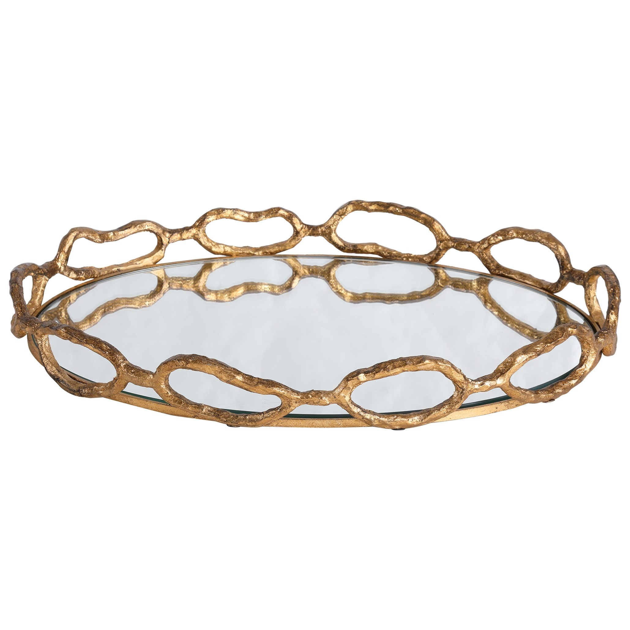 Accessories Cable Chain Mirrored Tray by Uttermost at Dunk & Bright Furniture