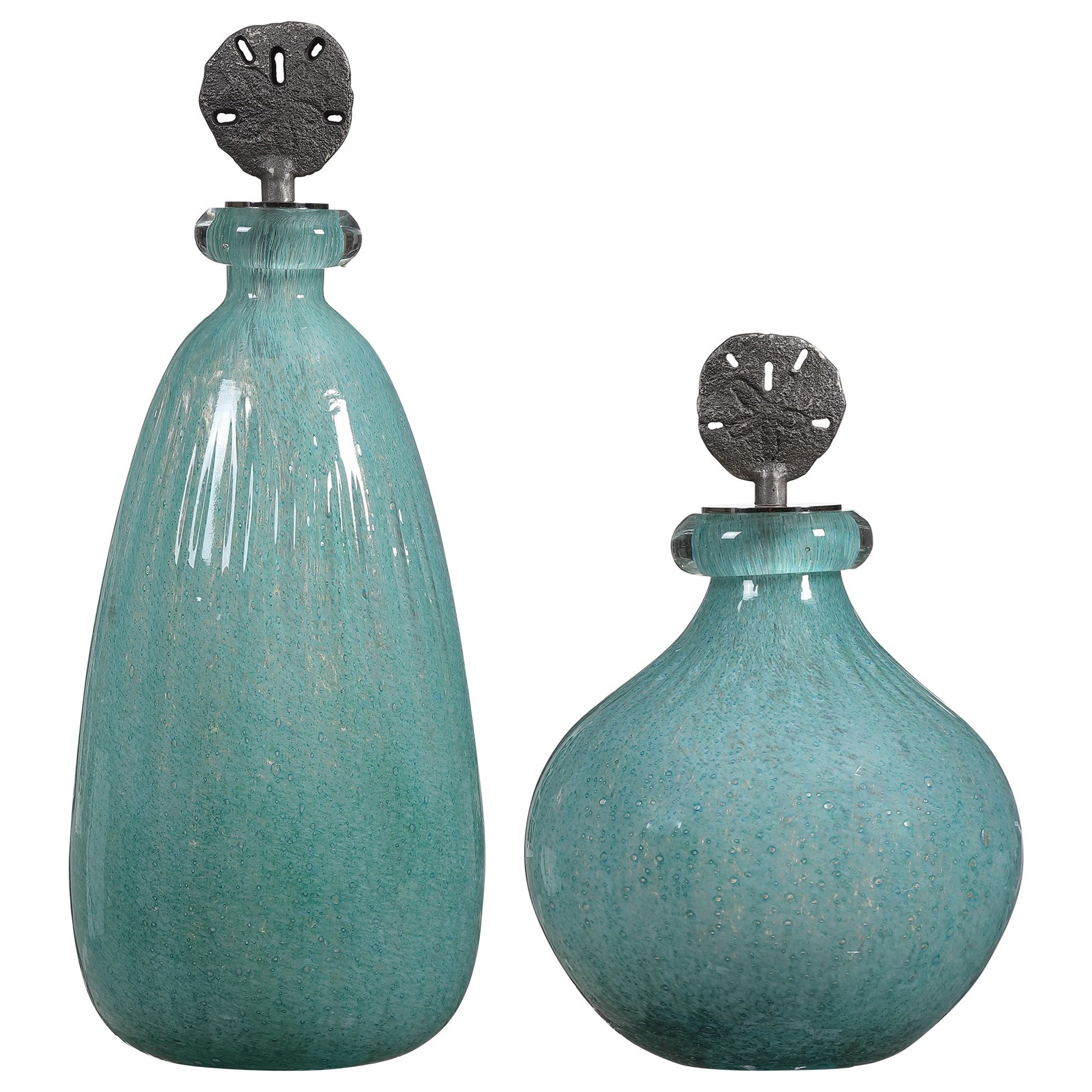 Accessories Mellita Aqua Glass Bottles, S/2 by Uttermost at Suburban Furniture