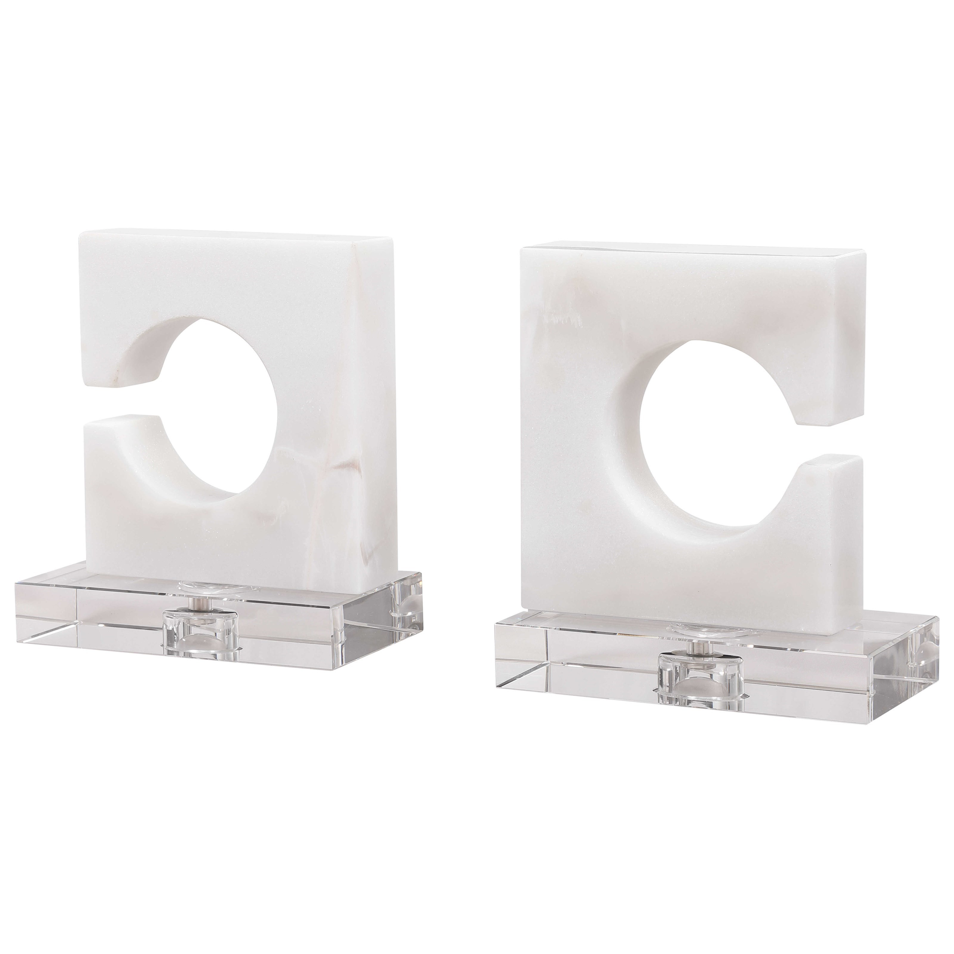Accessories White & Gray Bookends, S/2 by Uttermost at Mueller Furniture