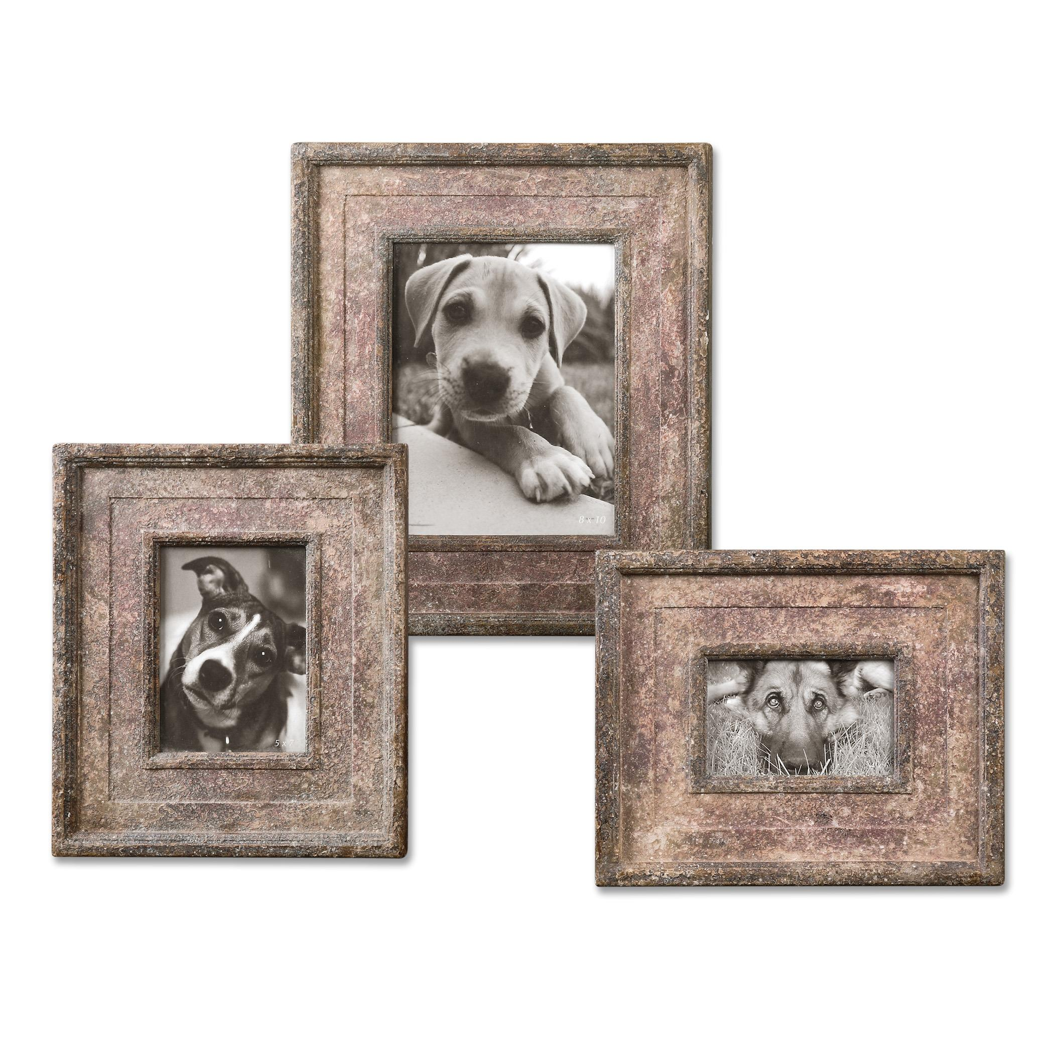 Uttermost Accessories Zana Red Distressed Photo Frames, S/3 - Item Number: 18570